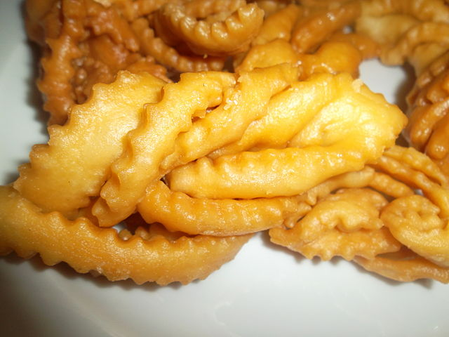 a late of fried dough twists served as chinese new year snacks