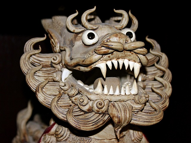 a statue of nian, the chinese new year monster