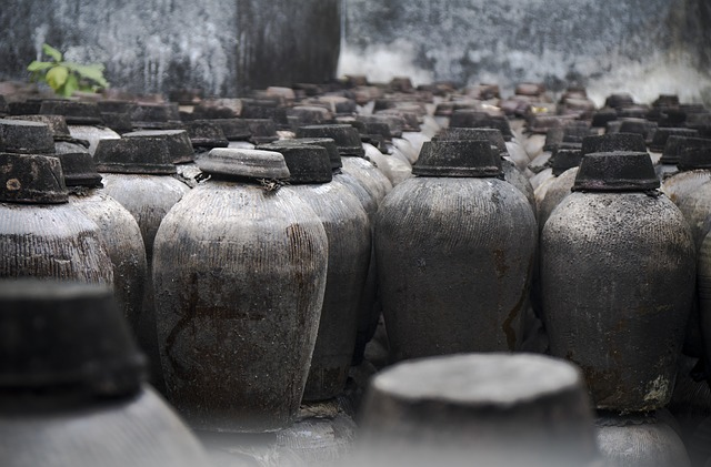 traditional tanks of tusu wine stacked over each other
