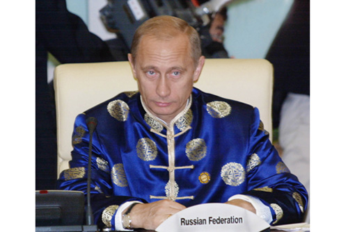 russian president vladimir putin wearing a tang suit, traditional chinese new year clothes