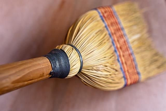 a rice straw broom